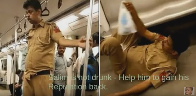 Drunk Cop on Delhi Metro Viral Video - Salim is not Drunk - Help him to regain his reputation