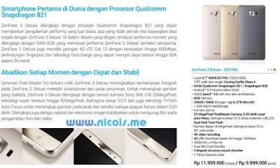 Harga dan Spesifikasi Asus ZenFone 3 Deluxe ZS570KL