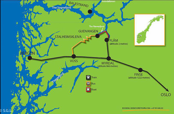 Mapa del recorrido Norway in a nutshell. El tren de Flam y la excursion Norway in a nutshell