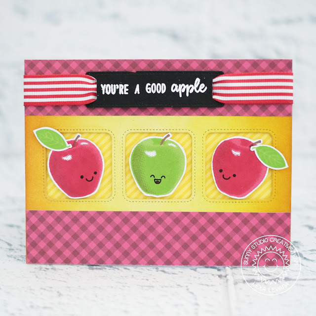 Sunny Studio Stamps: Fruit Cocktail Window Trio Dies Fancy Frame Dies Good Apple Card by Lexa Levana