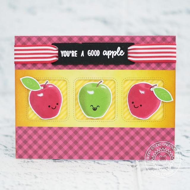 Sunny Studio Stamps: Fruit Cocktail Window Trio Dies Fancy Frame Dies Good Apple Card by Lexa Levana