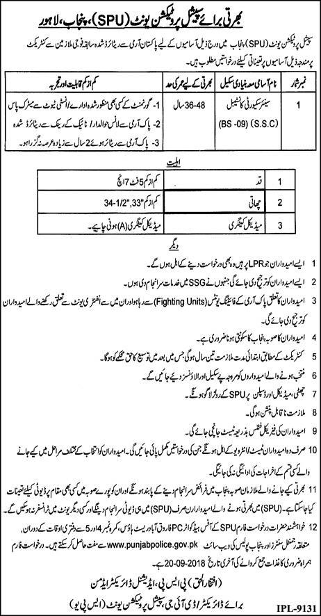 Punjab Police Jobs 2018 | Special Protection Unit | September