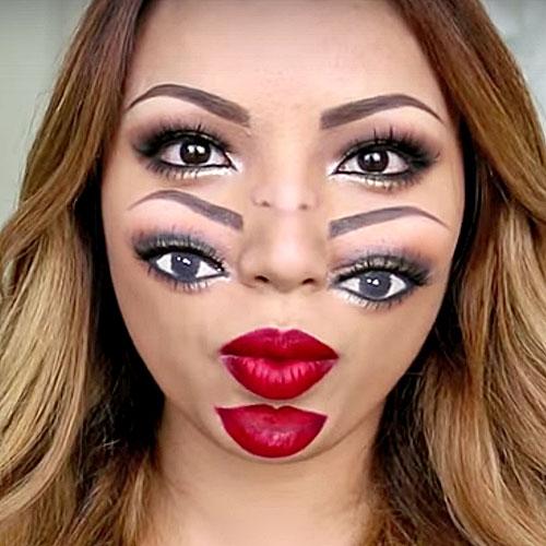 """Sorprendente maquillaje """" doble cara """" para mujer"""