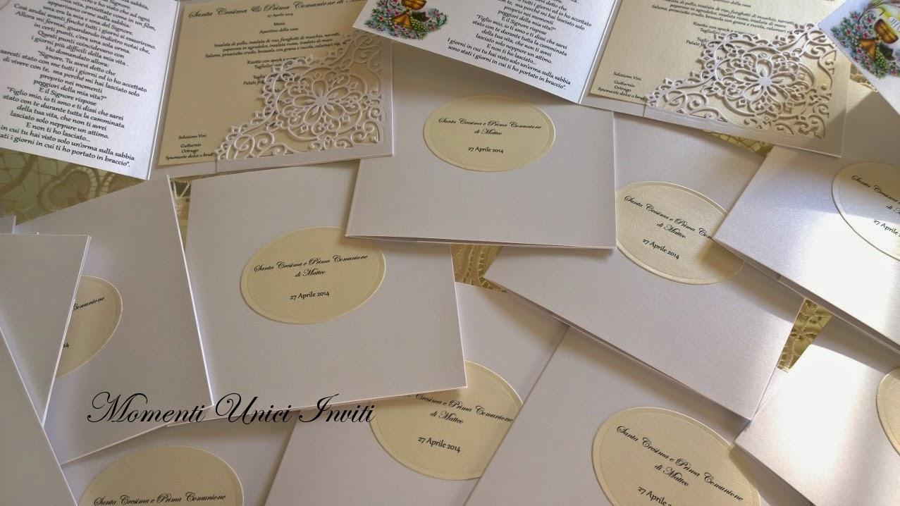 223 Card Prima Comunione e Cresima con taschina interna in carta di pizzoBiglietti d'invito - Prima Comunione Colore Avorio Colore Bianco Cresima Menù Partecipazioni Pizzo