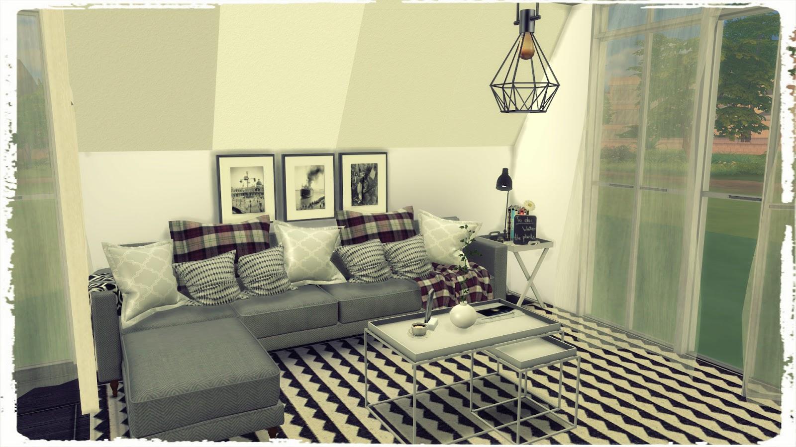 Sims 4 holmsund livingroom build decoration dinha for Living room sims 4