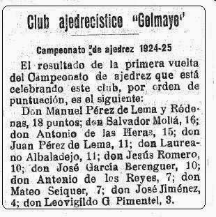 Sobre el Club Ajedrecista Golmayo, El Liberal, 10 de enero de 1925 (1)