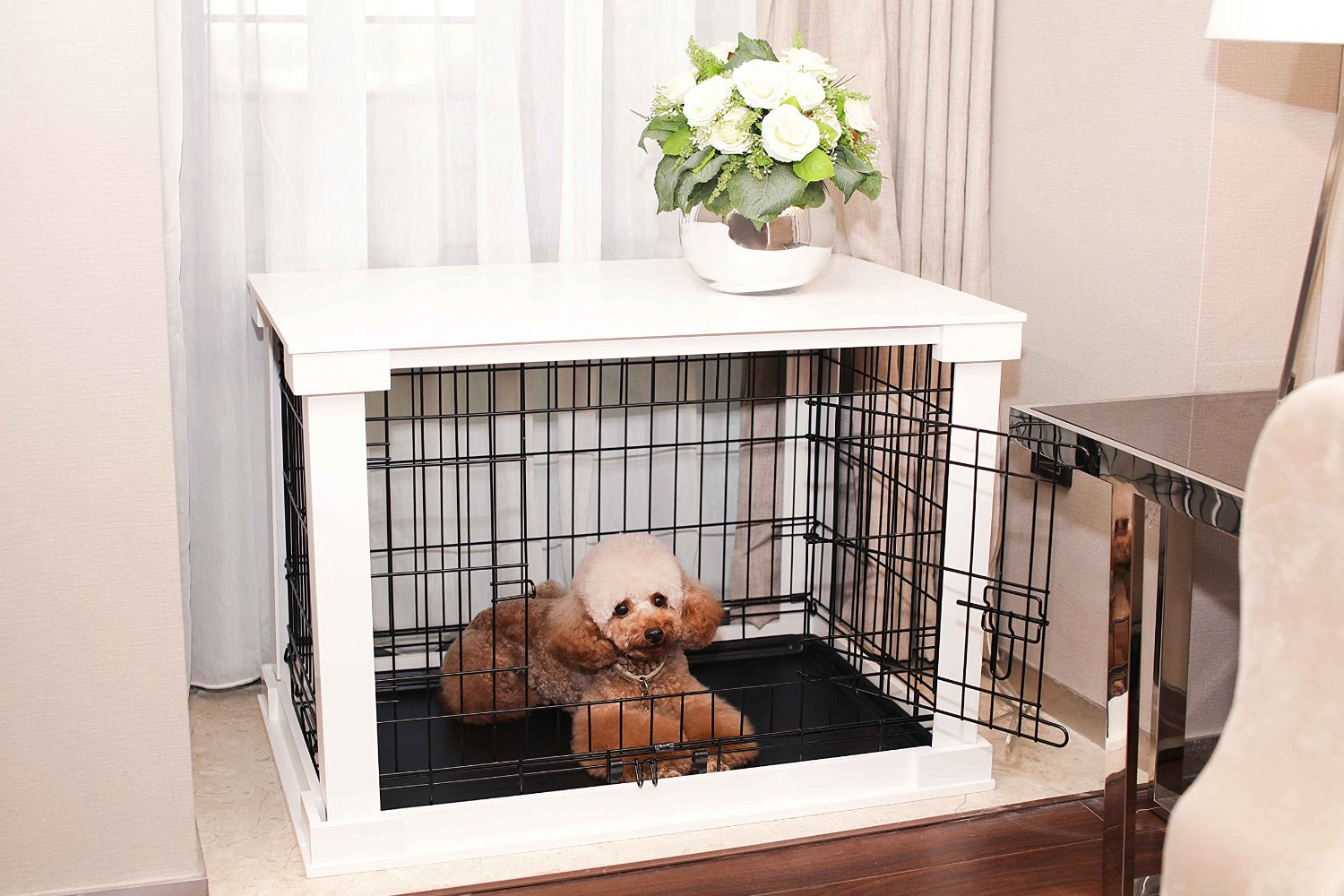 Charmant White Wood Dog Crate U0026 Cover Looks Like Furniture: End/Side Table Or  Nightstand