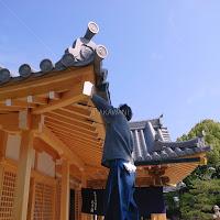 奈良県田原本町 津島神社 祇園神社 拝殿の飾り金物の採寸型取り 助っ人