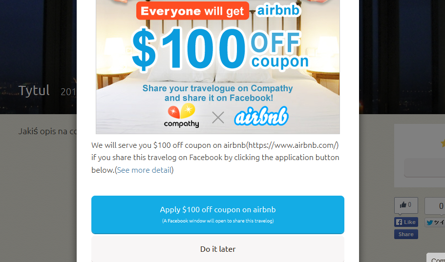 100 USD voucher for Airbnb from Compathy.net