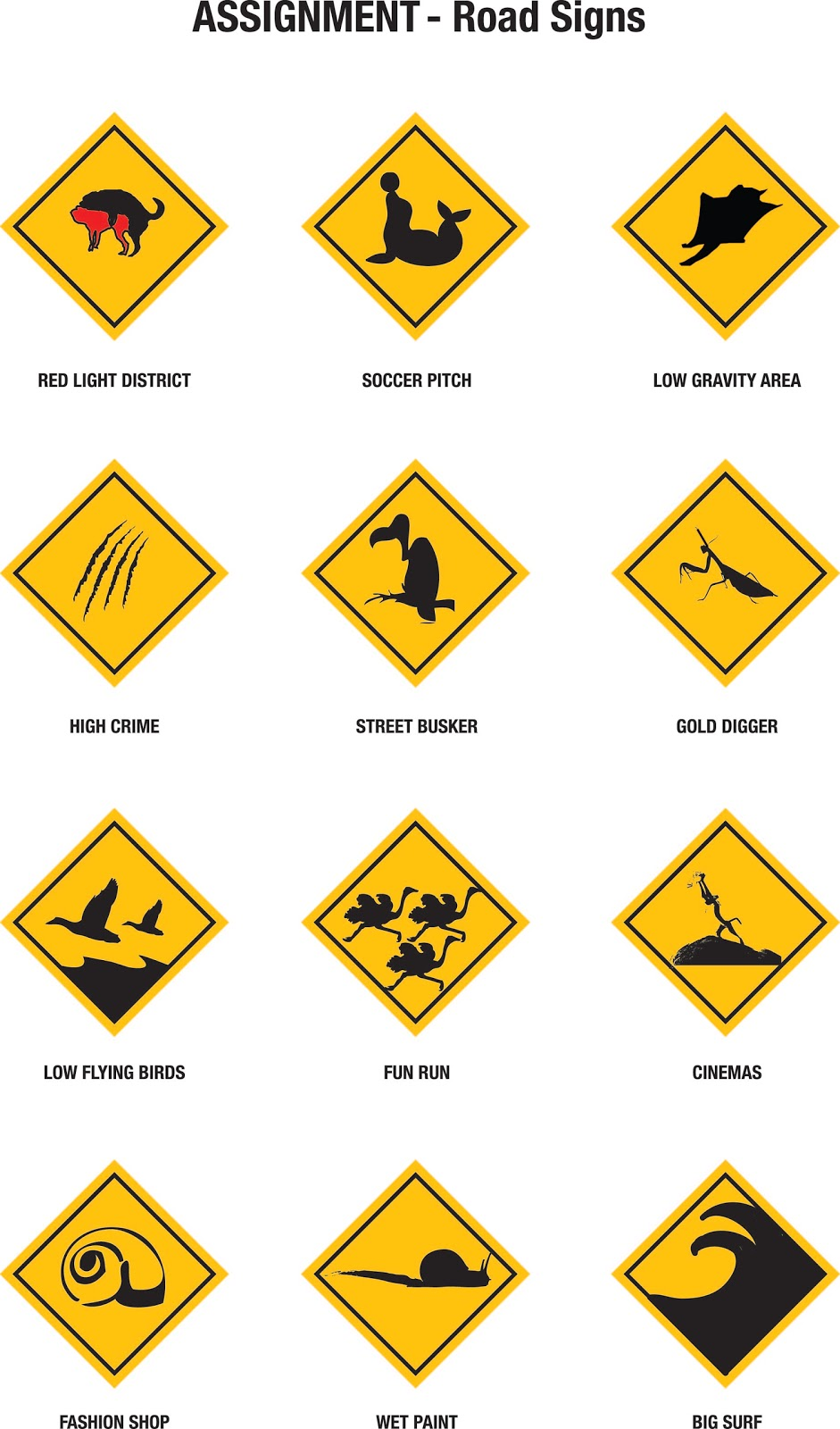 signs road animals symbols distribution