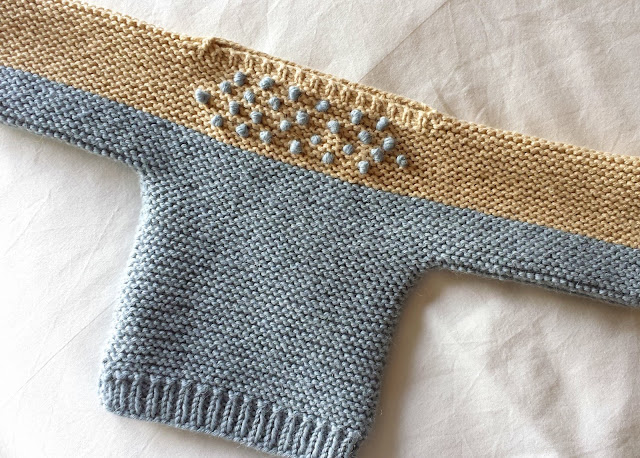 Quick and Easy Newborn Sweater by Jill  |  Snowflakes and itty bitty snowballs in August on afeathery*nest  |  http://afeatherynest.com