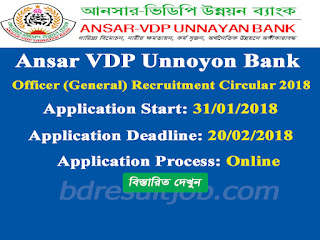 Ansar VDP Unnoyon Bank Officer (General) Recruitment Circular 2018