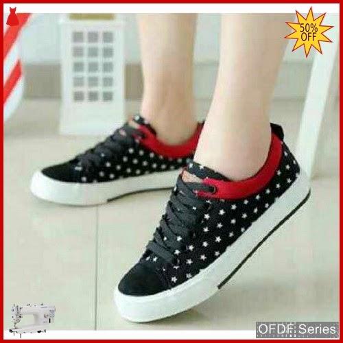 OFDF294 Sepatu Sneakers Cantik Sneakers Bintang Hitam BMGShop