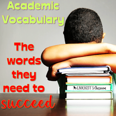 Increase student success with academic vocabulary.  These are the words your students will encounter in text books and high-stakes tests.