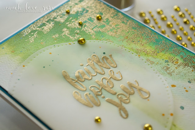 This fun watercolor background makes a beautiful backdrop to the gold embossing.  This fun mixed media style card is easy to create.  Using Fun Stampers Journey Splashes, Silks, Hope Anchors Stamp Set, and Vintage Notes Background Stamp.