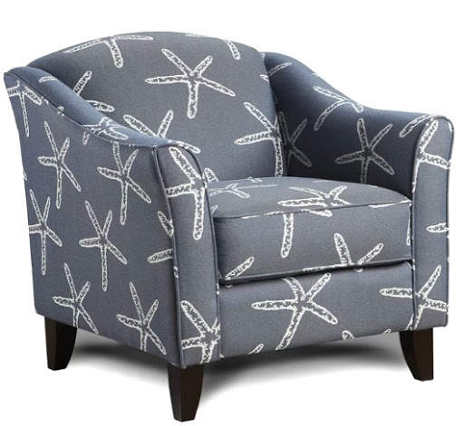 Coastal Gray Starfish Fabric Upholstered Accent Chair