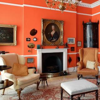 Sala paredes naranja