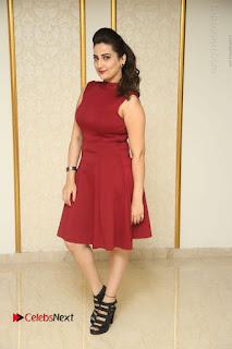 Telugu Tollywood Anchor Manjusha Pos in Red Short Dress  0148.JPG