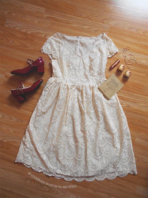 Lace V Neck Swing Dress