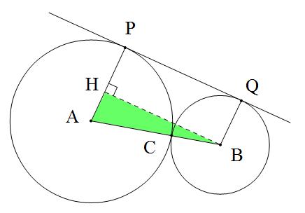 數學恐龍研究室: 外切兩圓之外公切線長與兩半徑公式