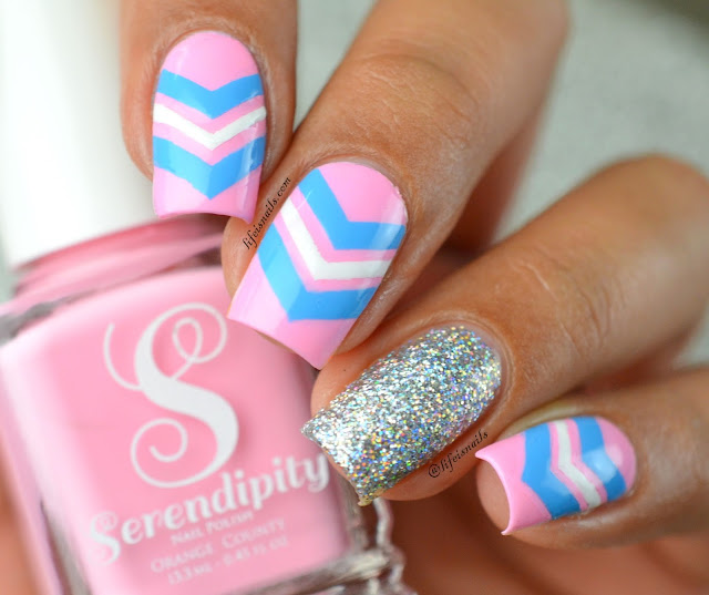 Pink And Blue Chevron Nails