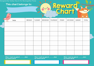 This is a photo of Punchy Rewards Chart Template