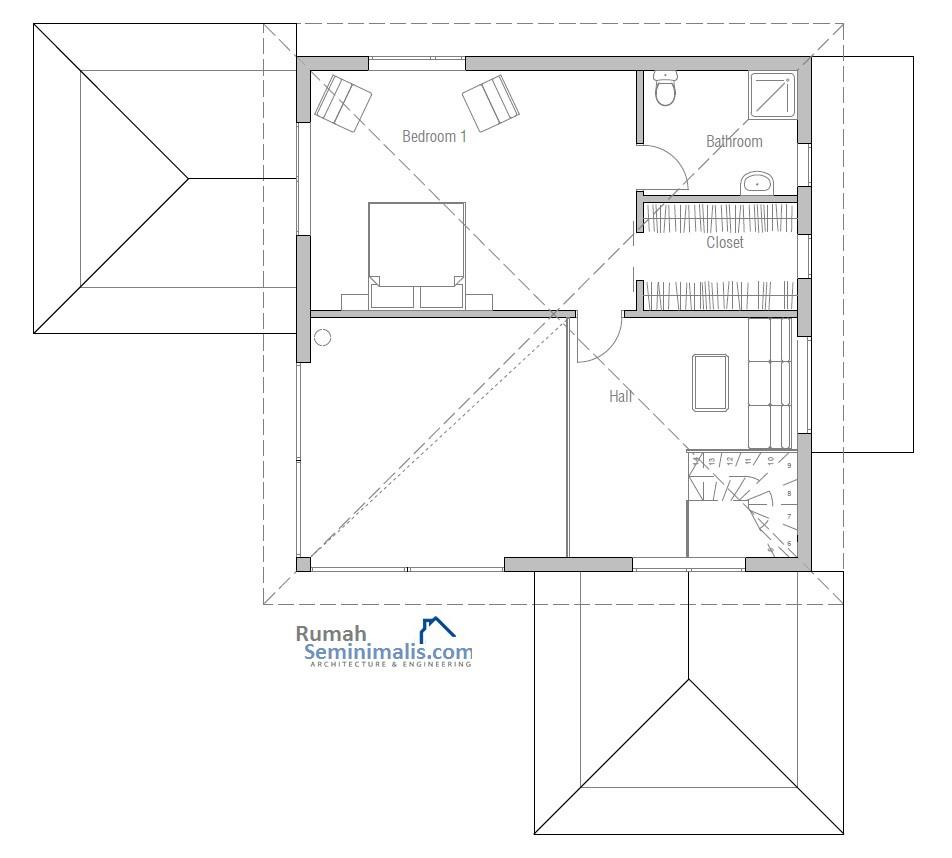 Denah Model Desain Gambar Rumah Minimalis Idaman Modern Tipe 100