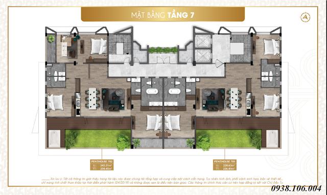 Bảng giá condotel Parami Hồ Tràm Vũng Tàu - mặt bằng tầng 7