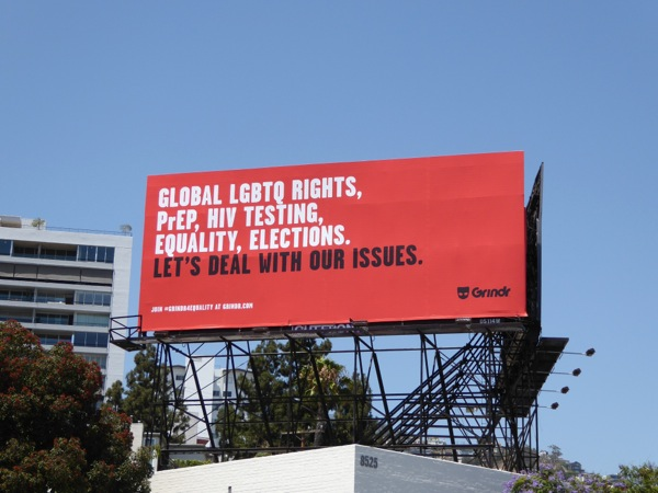 Lets deal with LGBTQ issues Grindr billboard