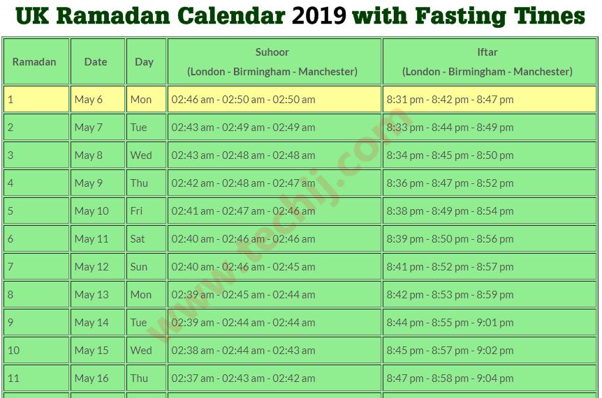 ramadan 2019 uk calendar