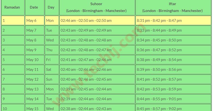 Ramadan 2019 UK Calendar with Exact Times (London, etc )