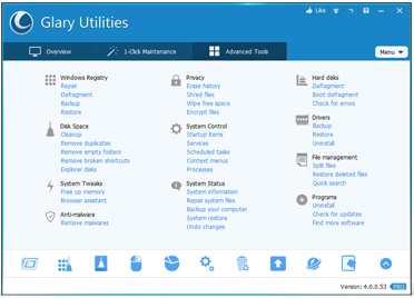 Glary Utilities, Free System Utility, Clean Registry, Registry Repair, Fix PC Errors, Clean Privacy, memory optimizer, optimize windows