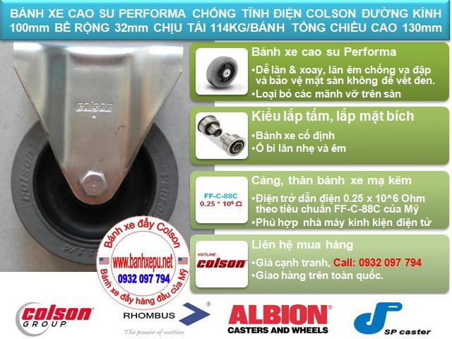 Bánh xe chống tĩnh điện Colson càng cố định phi 100 | 2-4608-445C www.banhxeday.xyz