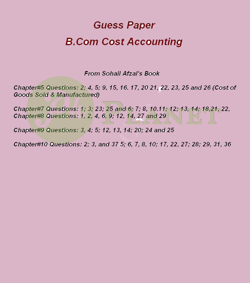 Cost Accounting B.Com Part 2 Guess Paper