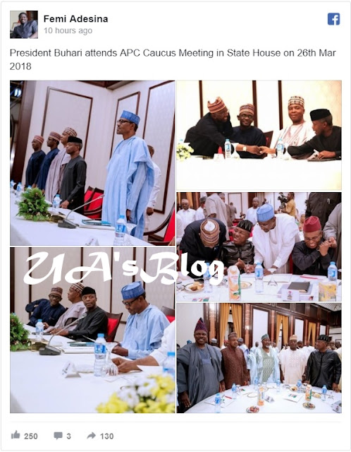 2019: Again, Tinubu Shunned APC Caucus Meeting With Buhari In Aso Rock; Ambode, Aregbesola, Ajimobi Too