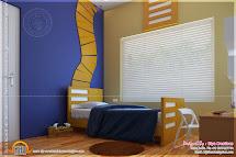 Bedroom Kid And Kitchen Interior - Kerala Home