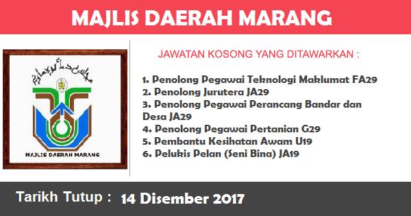 Jobs in Majlis Daerah Marang (14  Disember 2017)