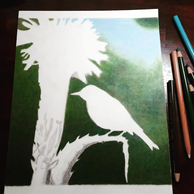 colored pencil art in progress