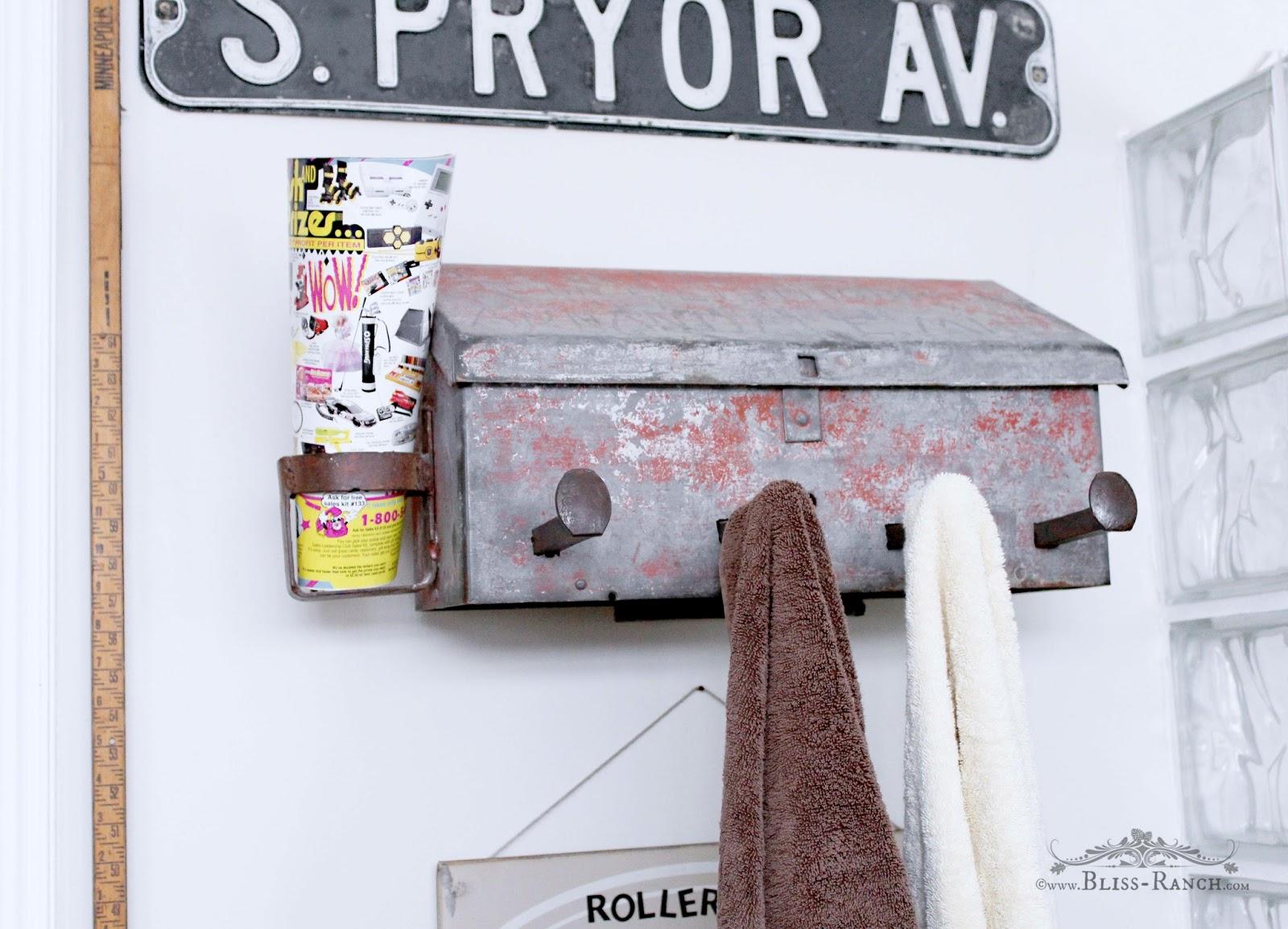 Vintage Mailbox Turned Towel Holder, Bliss-Ranch.com