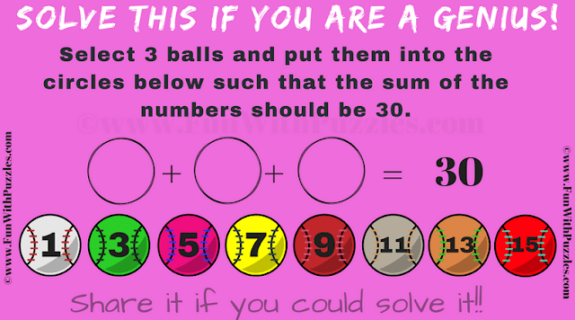 In this baseball Maths addition puzzle your challenge is to select 3 balls to make the sum 30.