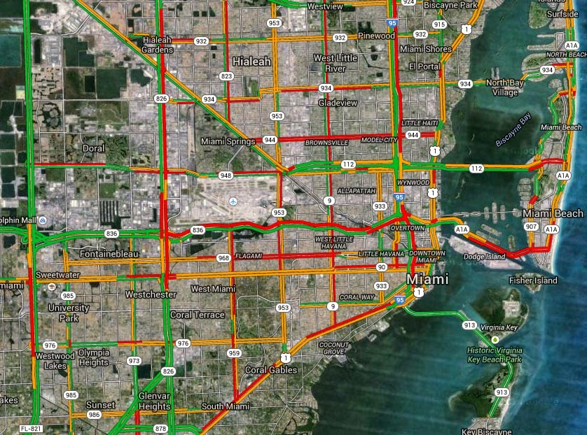 Miami Traffic Map EYE ON MIAMI: NO GO: Traffic in Miami Dade County is Unbearable  Miami Traffic Map