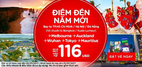 Khuyến mãi Air Asia điểm đến năm mới giá 116 usd