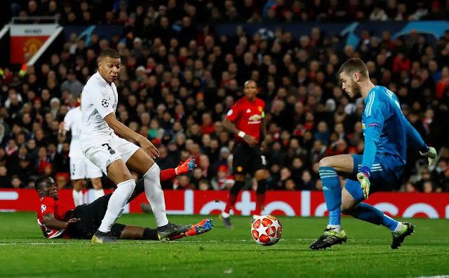 Paris Saint Germain Kylian Mbappe and Manchester United David de'Gea
