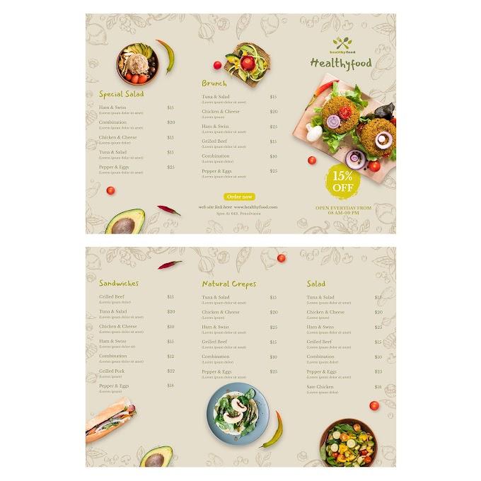 Healthy Light Food Dining Folding Menu free PSD Template