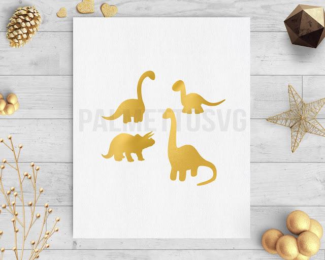 Dinosaurs gold foil clip art avg dxf silhouette cricut downloads