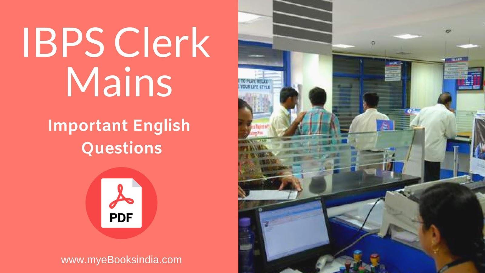 Material pdf clerk english study ibps