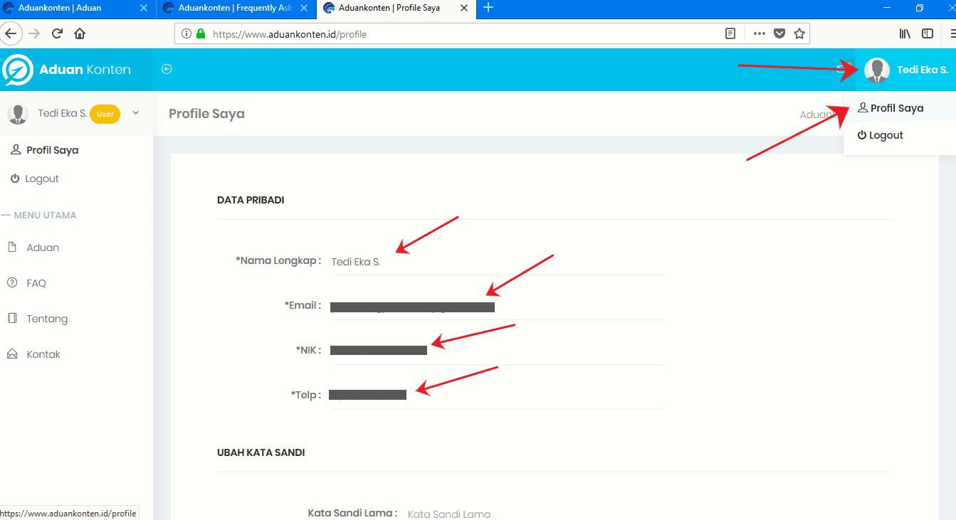 cara melaporkan konten negatif di aduan konten