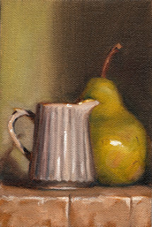Oil painting of a small white ceramic fluted jug beside a green pear.