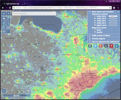 light pollution map for S-W Ontario