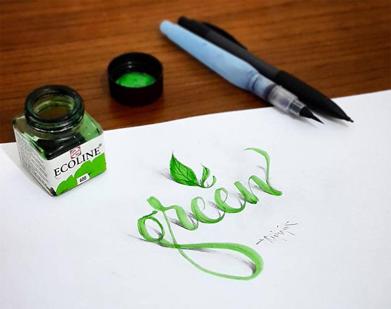 Nuevos ejercicios de caligrafía en 3D por Tolga Girgin